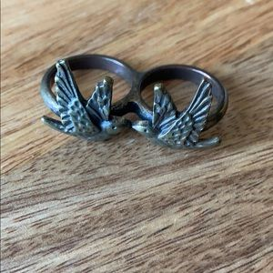 Forever 21 double bird gold ring
